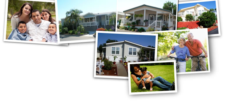 Images of mobile homes and happy people